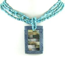 MOTHER OF PEARL & BLUE CORAL BEADS necklace ; AA068