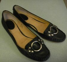 Frye 'Ruby Ring' Black Leather Slip On Loafer Flat Size 8.5 M