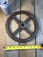 "IOWA Iron Salvage Valve Hand Wheel 10-3/8"" Diameter Arrow OPEN Oskaloosa Iowa"