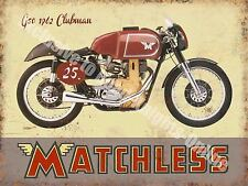 Vintage Garage Matchless Clubman, 120 Motorcyles 60's Bike, Small Metal Tin Sign
