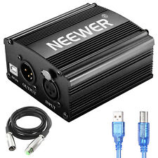Neewer 1-Channel 48V Phantom Power Supply+XLR 3 Pin Microphone Cable+USB Cable