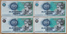 More details for denmark: 4 x 200 kroner banknotes in xf condition. close numbers. dkk