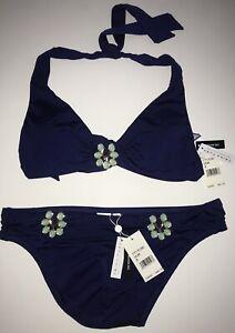 TRINA TURK Bijou Solids Halter + Hipster Swimsuit Set BLUE size 8 ($152) NWT