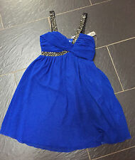 LIPSY COBALT BLUE JEWELLED STRAP BABY DRESS SIZE 8 BRAND NEW £65