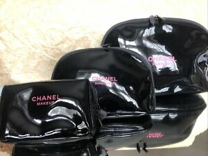 CHANEL MAKE UP BAG SET X 3 WITH BOTTLE  & MAKE UP IMPRINT VERY RARE COLLECTABLE