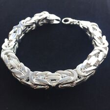 Mens Kings Byzantine Chain Bracelet 10mm 129GR 10.63 Inch 925 Sterling Silver