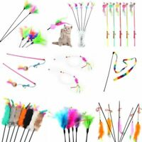 Pet Cat Kitten Toy Mouse Teaser Wand Feather Rod Cat Interactive Toys Play L0Z1