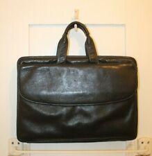 JOHNSTON & MURPHY Black Pebbled Leather Portfolio Briefcase READ Description