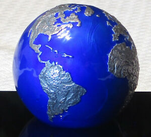 2021 BLUE MARBLE AT NIGHT, 3oz Silver Spherical Globe Coin-Planet Earth-Barbados