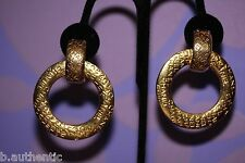 """CHANEL 1980s Vintage Dangle Gold CC Logo *2in1* Clip-On Circa 2""""+ Hoop Earrings!"""
