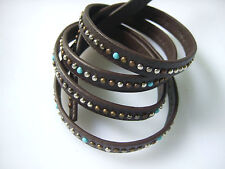 1 Meter 10x2.5mm Flat Brown PU Leather Cord W Rivet String Lace Thong Jewellery