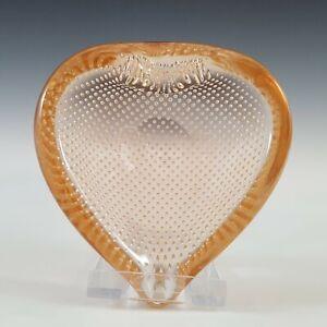 Murano Biomorphic Peach Glass Bullicante Heart Shaped Bowl