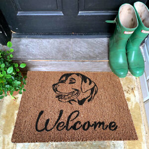 Natural Coir Door Mat Labrador Dog Design Welcome Gift Latex Rubber 60cm x 45cm