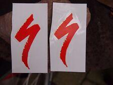 2x  SPECIALIZED LOGO BIKE AUFKLEBER SET rot  transparent   6,5 cm x 3.0 cm