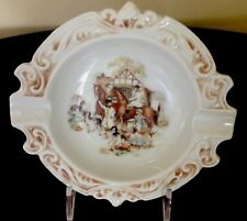 Vintage The Hinode Japan Ceramic Ashtray Fox Hunt Scene