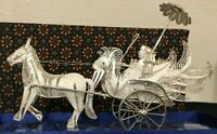 925 Asian Sterling Silver Filigree Figurine – Vintage Horse Carriage, Large, New