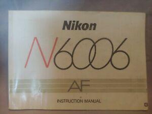 Nikon N6006 AF 35mm Camera Factory Instruction Manual Booklet