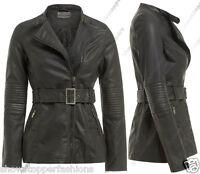 Size 8 10 12 14 NEW Womens BELTED BIKER COAT JACKET FAUX LEATHER Ladies Long ZIP