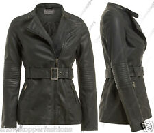 Size 8 10 12 14 NEW Womens BELTED BIKER COAT JACKET FAUX LEATHER Ladies Long ZIP