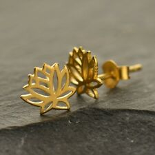 Gold Vermeil Tiny Small Open Lotus Flower Yoga Studs Stud Post Earrings