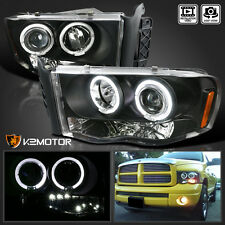 2002-2005 Dodge Ram 1500 2500 3500 Halo Projector Headlights Black Left+Right
