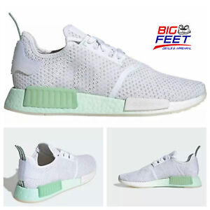 Size 10.5 Adidas Boost NMD R1 White Mint Green Running Lifestyle Shoe FV1737