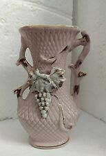 Vintage Made in Japan Pink Vase with Grapes and Bit of Gold