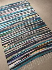 RECYCLED MULTI COLOURED CHINDI RUG COTTON HANDMADE LOOMED INDIAN FAIR TRADE MAT