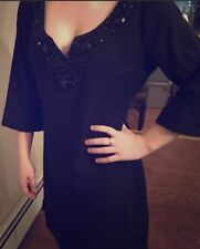 BCBG Evening Cocktail Dress Beaded Collar LBD Sz S MSRP $320!!