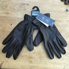 BRAND NEW M & S BROWN LEATHER MENS GLOVES FLEECE LINING MARKS & SPENCER SMALL S