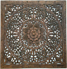 """Large Floral Wood Carved Wall Panels. Asian Wood Wall Decor Plaque. Brown, 36"""""""