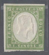Italy Sardinia Sc # 10c  5c yellow green '55-59 Mint