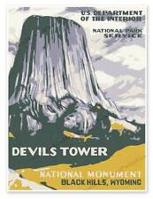 "Devils Tower National Park Service WPA Monument Wyoming Print Poster 18"" x 24"""