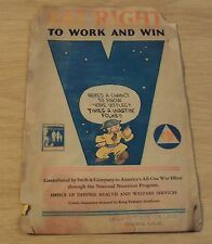 "UNIQUE 1942 WWII Civil Defense ""EAT RIGHT""~King Features COMIC FIGURES~Popeye..."