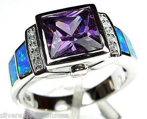 3.0 ct Amethyst & Blue Fire Opal 925 Sterling Silver Men's, Woman Ring Sz 6 - 9