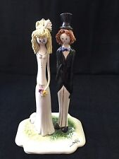 Zampiva Italian Ceramics Bride and Groom Statue Wedding Cake Topper Collectable