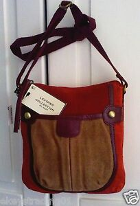 BNWT A Next Leather Collection Pocket 'Rust' Small Across Body Bag, Zipped