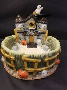"Corner Ruby Halloween Ceramic Candy Dish Haunted House Ghosts Pumpkins 7"" New"