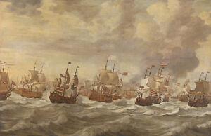 Four Days Naval Battle by Willem van de Velde 100cm x 64.7cm Art Print
