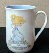 "Precious Moments Cup Enesco Personalized Name Coffee Mug Cup 1989 ""Sue� Euc"