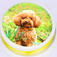 "Personalised Poodle Cake Topper - 7.5"" Round Edible Icing -  Dog Cake Decoration"