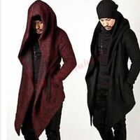Cool Mens Hooded Long Coat Cape Cloak Wool Overcoat Chic Korean Style Jacket New