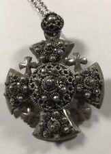 Vintage Sterling Silver  Jerusalem  Cross Pendant/ Brooch.