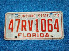 Florida 1974 License Plate 47RV-8785 Citrus County FL Recreational Vehicle