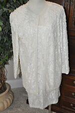 Vtg Carina Ivory BEADED PEARL 2 Pc Dress Jacket Set Bridal wedding formal XL