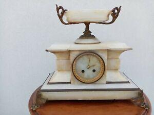 Orologio Pendolo da Tavolo camino Charvet Lyon alabastro XIX Japy Freres 15 kg