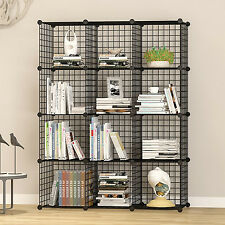 UNICOO - Multi Use DIY 12 Cube Wire Grid Organizer, Bookcase, Storage Cabinet,