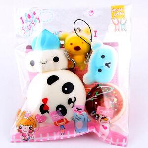 5pcs Set Lots Medium Mini Soft Squishy Bread Toys Keychain Straps  Toys Gift.