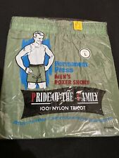 Vtg Green Nos 100% Nylon Tricot Mens Boxer Shorts Size Large Pride Of The Family