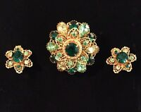 Rhinestone Brooch & Earrings VTG Delicate Gold-Tone Green / Yellow (1725)